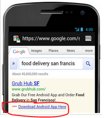 Mobile app extension Adwords