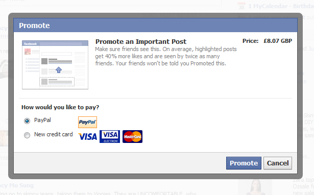Cost of Facebook Promote Posts