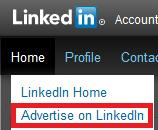 Advertise On LinkedIn Home Option Screenshot