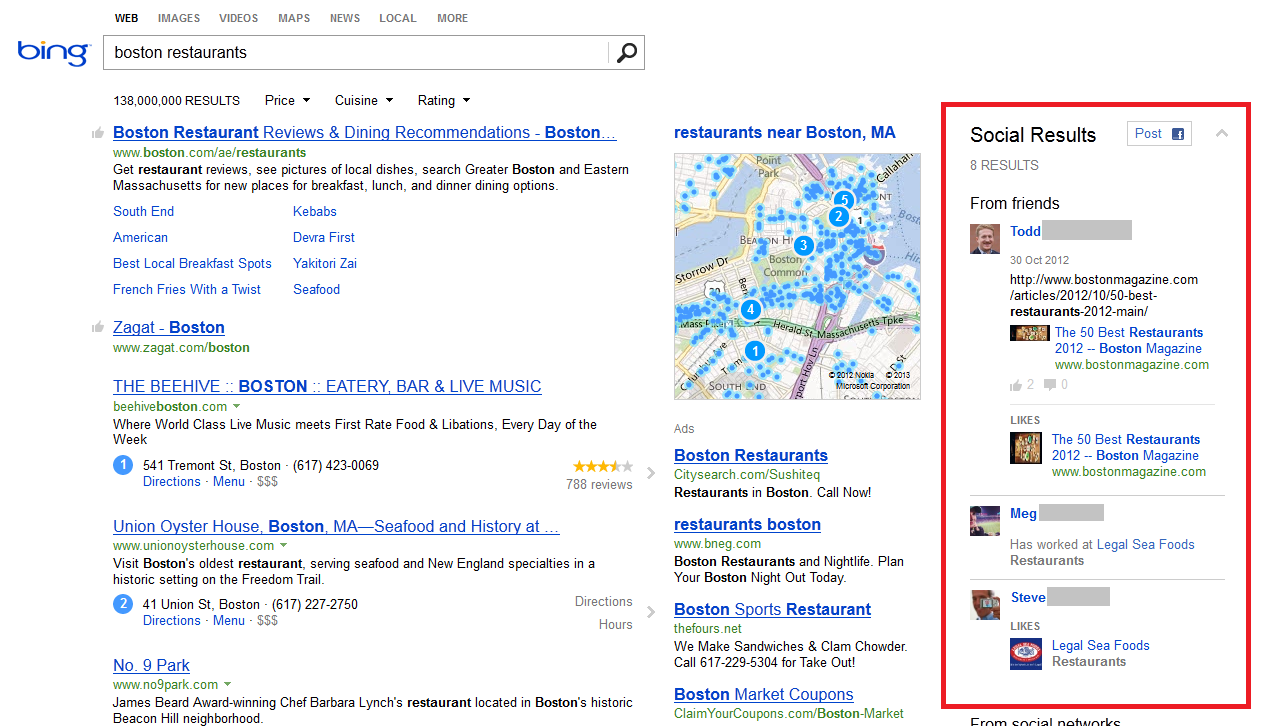Bing three column social search