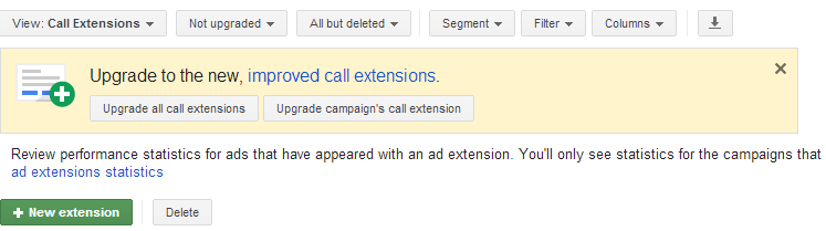 Upgrade call extensions in enhanced campaigns