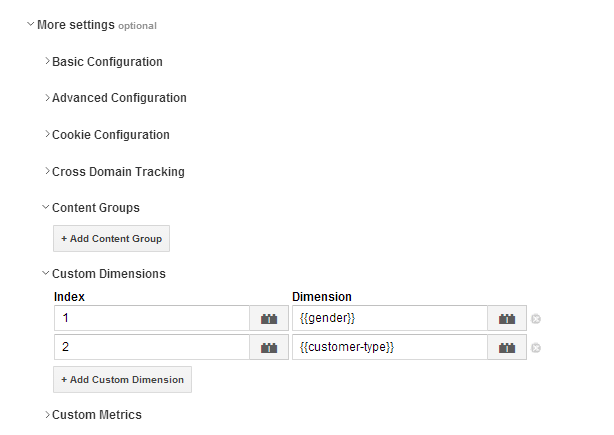 Custom Dimensions Tag Manager